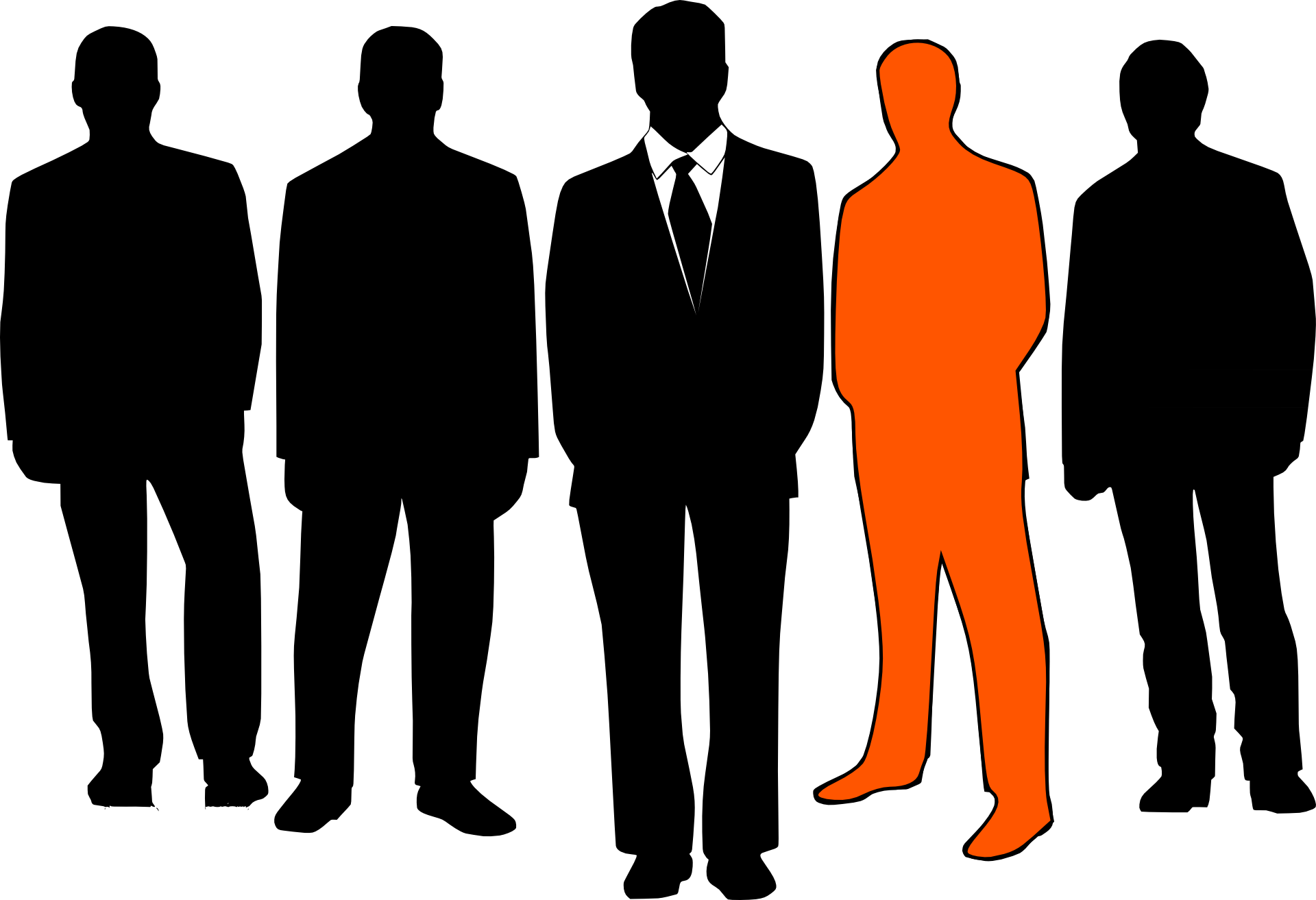 The picture represents a group of people which are drawn in black and one of them drawn in orange, The orange person represents the leader.