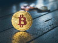 Bitcoin on a table, looks like a coin