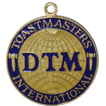 DTM badge from the Toastmasters organization