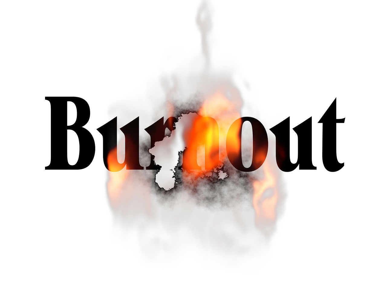 The picture shows the text burnout and there is a flame on top of the text