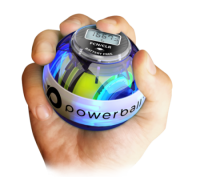 A hand holding a powerball device, useful for every product manager who works all day in front of a computer