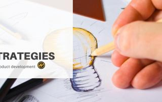 "the image represents a hand drawing a light bulb. There is a sign stating ""Strategies for product development"" next to the light bulb. And next to the sign there is the logo of the Aleks Vladimirov blog focused on supporting product managers in providing them great articles."
