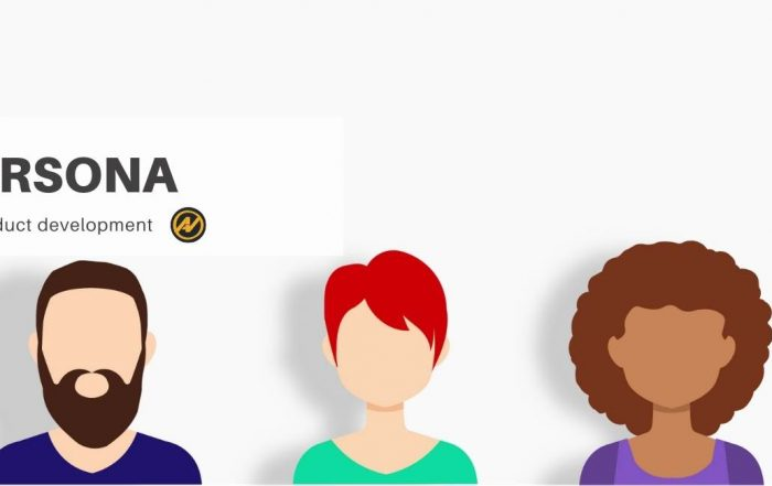 """Three people with different skin tones and hair colors. on the top there is the message """"Persona for product development"""" and next to it there is the logo of the Aleks Vladimirov blog."""