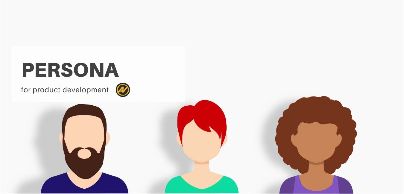 "Three people with different skin tones and hair colors. on the top there is the message ""Persona for product development"" and next to it there is the logo of the Aleks Vladimirov blog."