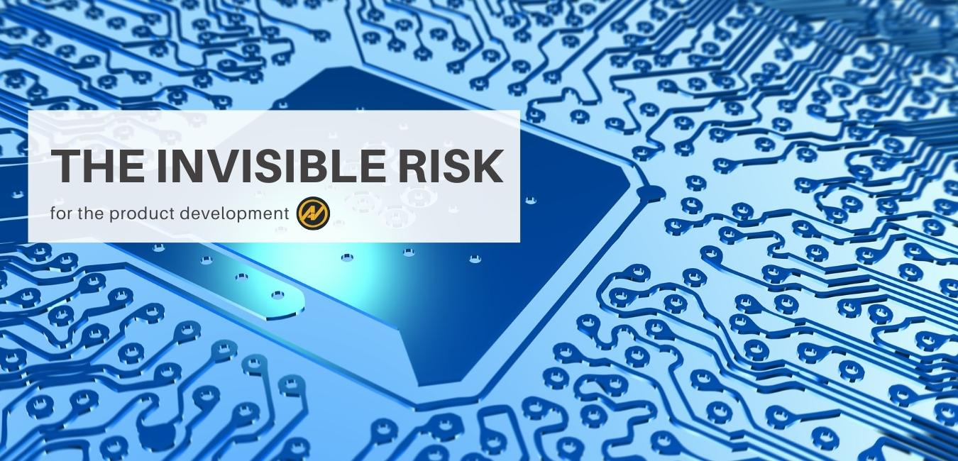 "In the picture, there is a chip and a mother board in the background and above a sign ""The invisible risk for the product development"" and next to it the logo of Aleks Vladimirov Blog"